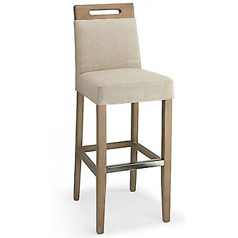 Modosi Fabric Seat Kitchen Breakfast Bar Stool Wooden Frame Fully Assembled