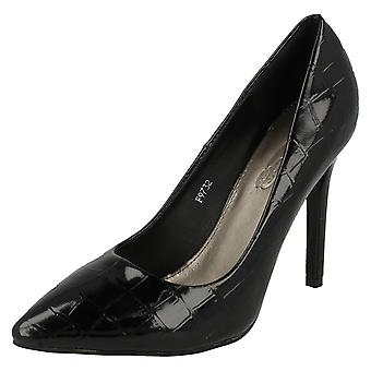 Ladies Spot On Croc Print Stilettos F9732