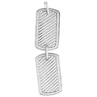 Premium Bling - 925 Sterling Silber Doube Dog Tag Anhänger