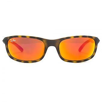 Ray-Ban Junior Wraparound Sunglasses In Matte Havana Orange Mirror