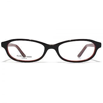 Kurt Geiger Abigail Classic Petite Oval Acetate Glasses In Black With Red Interior