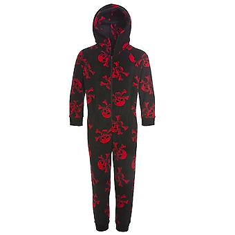 Camille Childrens Unisex Black And Red Skull Print All In One Pyjama Onesie