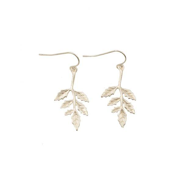 W.A.T Delicate Leaf Necklace With Matching Earrings