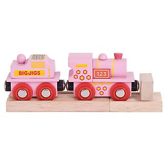 Bigjigs Rail Pink 123 Engine - Other Major Wooden Rail Brands are Compatible