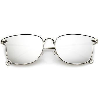 Quadrati di metallo moderni occhiali da sole con lenti a specchio piatti e sottile gancio braccia 55mm