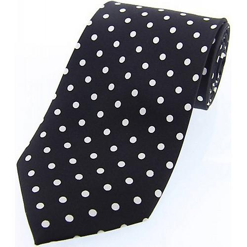 David Van Hagen Polka Dot Silk Twill Tie  - Black/White
