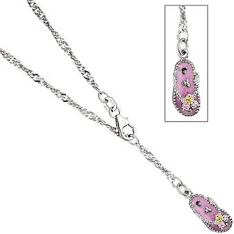 Foot jewelry anklets foot necklace 925 sterling silver with cubic zirconia pink 25 cm