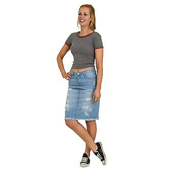 Distressed Denim Skirt - Stonewash Raw Hem Jean Skirt Midi Skirt