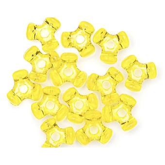 480 Transparent Yellow Plastic Tri Plastic Beads for Kids Crafts