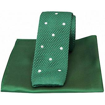David Van Hagen Spotted Thin Knitted Silk Tie and Plain Handkerchief Set - Green/White