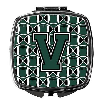 Letter V Football Green and White Compact Mirror