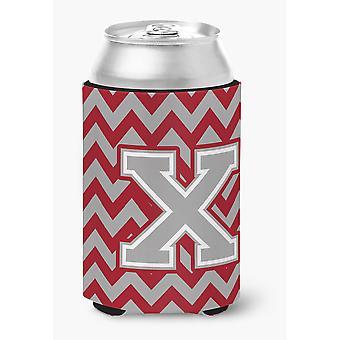 Letter X Chevron Crimson and Grey   Can or Bottle Hugger