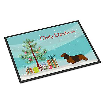 Longhaired Dachshund Christmas Indoor or Outdoor Mat 18x27
