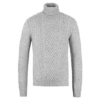 Edwin Grey Marl Garment Washed United Rollneck Knitted Sweater