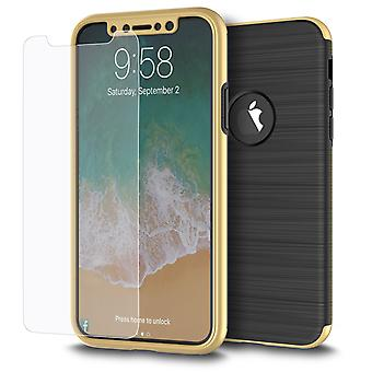 Samsung Galaxy S7 Edge 2 in 1 Handyhülle 360 Grad Full Cover Case Gold