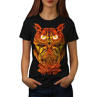 Night Owl On Fire Women BlackT-shirt | Wellcoda