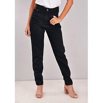 Hög upphov Denim mamma Jeans svart