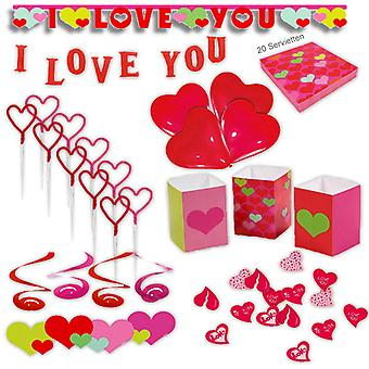 Heart party set XL 60-teilig I love you love party decoration party package