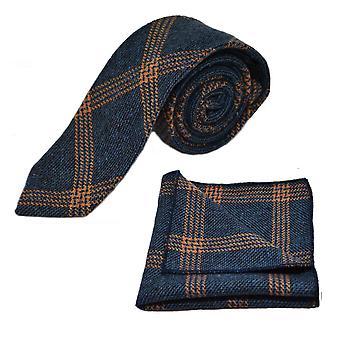 Denim blå & Orange Birdseye kontrollera slips & Pocket Square Set