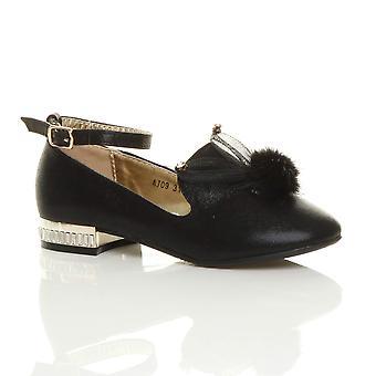 Ajvani girls ankle strap glitter shimmer pom pom loafers party shoes ballerinas