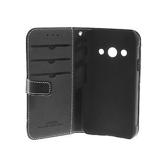Insmat Exclusive-Folding case for mobile phone-genuine leather-black for Samsung Galaxy Xcover 3