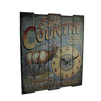 Rustic Elk Country Guide Service Wood Wall Clock 18 inch