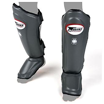 Twins Special Double Padded Leather Shin Guards - Grey