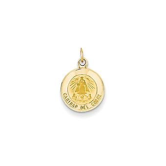 14k Yellow Gold Solid Satin Polished Flat back Engravable Our Lady of Cuba Medal Charm - Measures 11x11mm