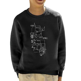 PlayStation 1 Computer Schematic Kid's Sweatshirt
