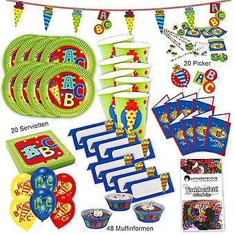 Back to school ABC school party set XL 160-teilig for 8 guests at school party decoration party package