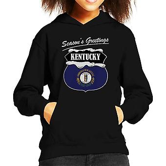 Seasons Greetings Kentucky State Flag Christmas Kid's Hooded Sweatshirt