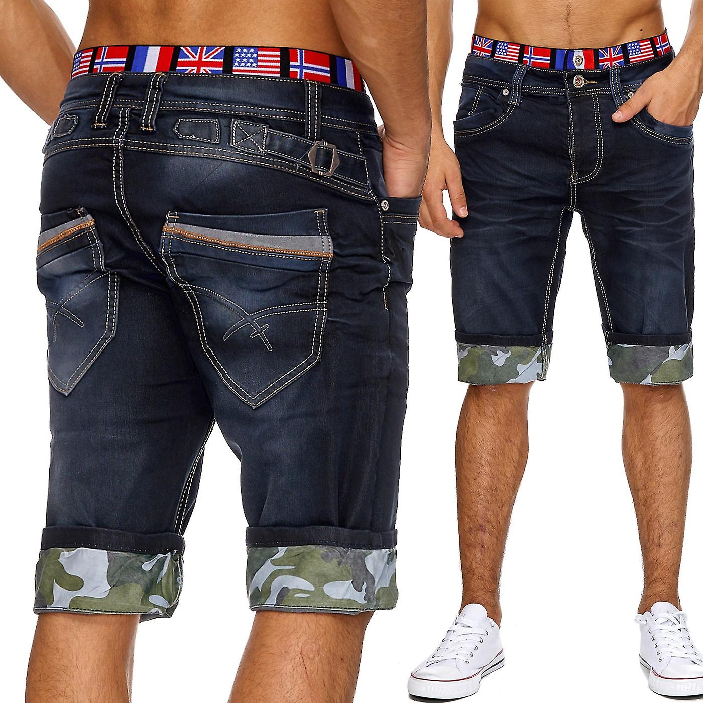Men's Jeans Shorts Short Pants Stonewashed Classic Summer Flag USA Cargo Cap