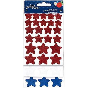 America The Beautiful Glitter Stickers 3/Sheets-Red, White & Blue Stars