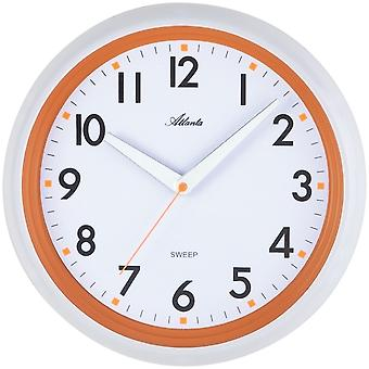 Atlanta 4314/12 wall clock quartz analog white orange around quiet without ticking