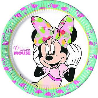 Minnie tropical mouse party plates Ø 23 cm birthday 8 pieces