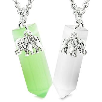 Lucky Elephant Love Couples or Best Friends Crystal Points Green White Simulated Cats Eye Necklaces