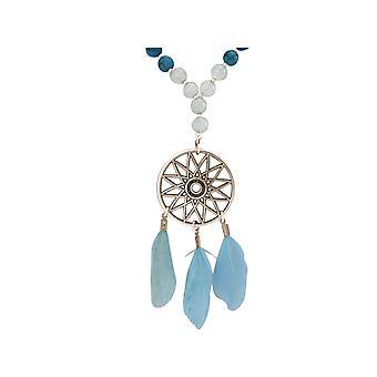 Gemshine - Traumfänger - Halskette - Silber - Boho - Feder - Blau - 75 cm
