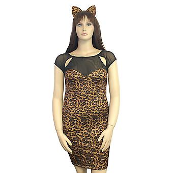 Womens Plus Size Stretch Leopard Print Mini Dress and Ears Cat Costume Lingerie