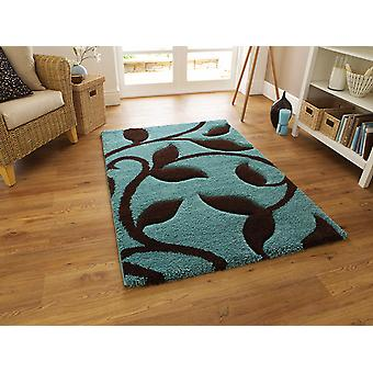 Fashion Carving 7647 Blue-Brown Blue background with brown floral design Rectangle Rugs Modern Rugs