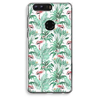 Honor 8 Transparent Case (Soft) - Flamingo leaves