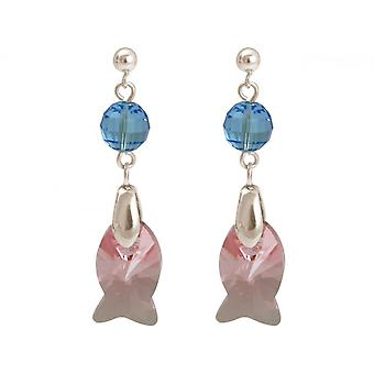 Damen Ohrringe 925 Silber Fisch Rosa Blau MADE WITH SWAROVSKI ELEMENTS® 3 cm