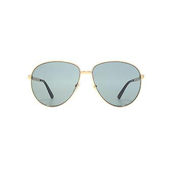 Gucci Vintage Web Pilot Sunglasses In Gold Green
