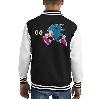 Sonic The Hedgehog Chasing Rings Kid's Varsity Jacket