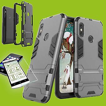 Voor de Samsung Galaxy A7 A750F 2018 stijl metalen hybrid case TPU silicone grijs + 0,26 mm 2.5 d H9 getemperd glas tas gevaldekking van mouw
