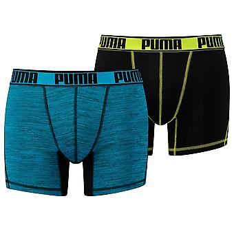 Puma sport Microfiber actieve 2-Pack Boxers, zwart / Lime / blauw, Medium