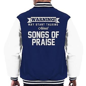 Warning May Start Talking About Songs Of Praise Men's Varsity Jacket