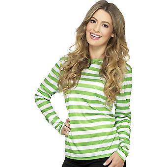 Stripete t-skjorte, Green, med lang erme
