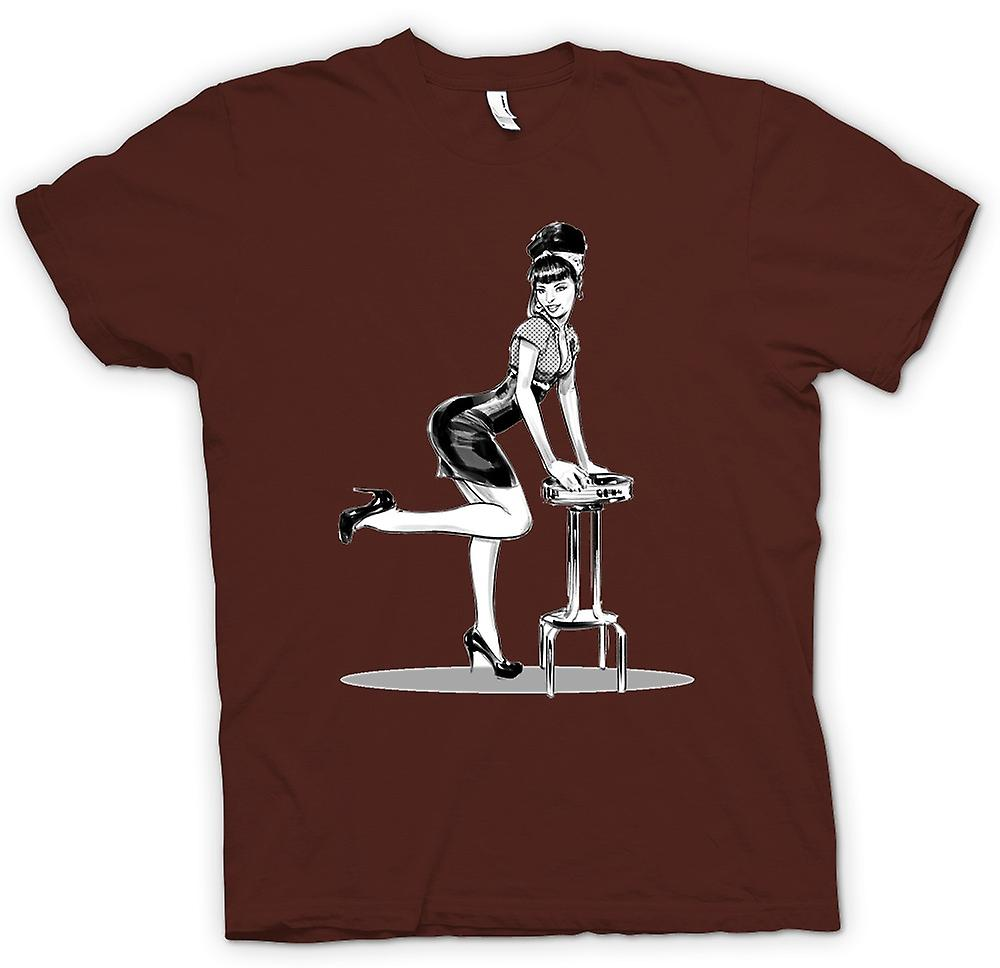 Mens T-shirt - 60s Pin-Up Lady - Sketch