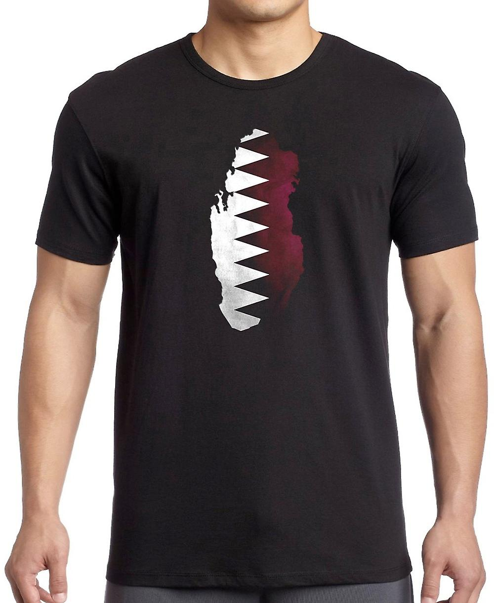 Qatar Flag Map T Shirt