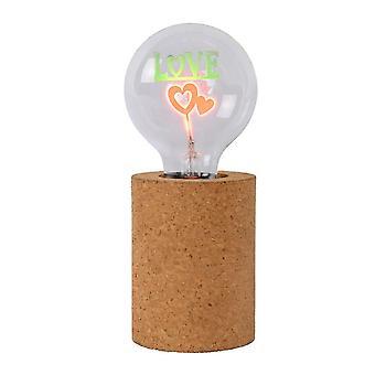 Lucide Corky Vintage sylinder Cork brun bordlampe